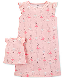 Carter's Little & Big Girls 2-Pc. Ballerina-Print Nightgown & Doll Nightgown
