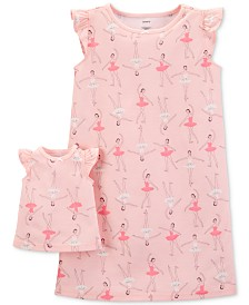 Carter's Little & Big Girls 2-Pc. Ballerina-Print Nightgown & Doll Nightgown