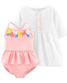 2c3f99c7f0382 Carter s Baby Girls 2-Pc. Flower Swimsuit   Cover-Up Set