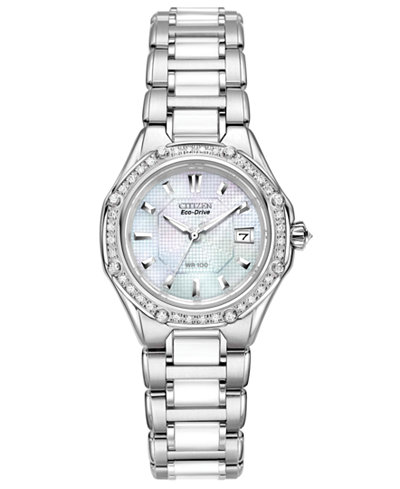 Citizen Women's Eco-Drive Signature Diamond (3/8 ct. t.w.) Ceramic Stainless Steel Bracelet Watch 29mm EW2190-59D