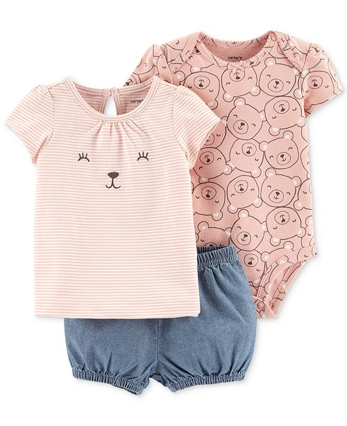 5bcdd4a70 Carter's Baby Girls 3-Pc. Bear-Print Cotton Bodysuit, T-Shirt ...