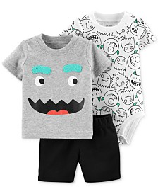 9214b8022579 Carter's Baby Boys 3-Pc. Monster-Print Cotton Bodysuit, T-Shirt