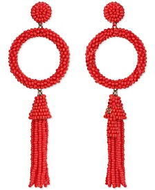 Deepa Beaded Circle & Tassel Drop Earrings
