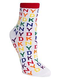 DKNY Women's Pride Rainbow Logo Crew Sock