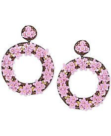 Deepa Gold-Tone Crystal, Bead & Resin Flower Circle Drop Earrings