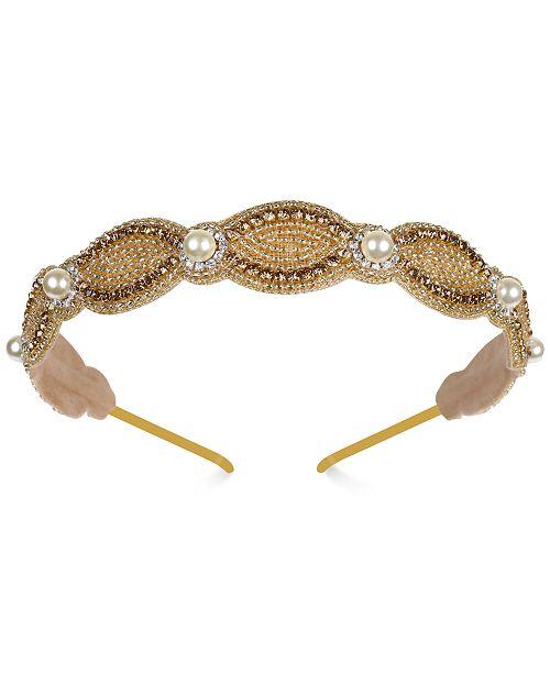 Deepa Two-Tone Crystal, Bead & Imitation Pearl Headband