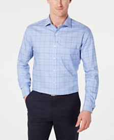 Tasso Elba Men's Classic/Regular Fit Non-Iron Supima Cotton Medium Twill Glen Plaid French Cuff Dress Shirt, Created for Macy's