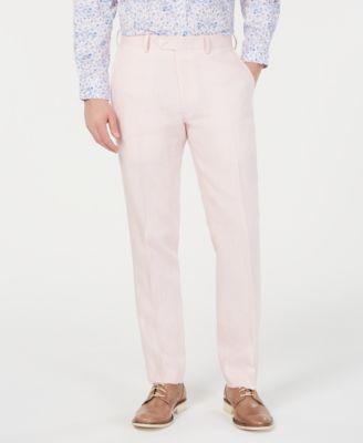 Men's Slim-Fit Linen Pink Suit Pants, Created for Macy's