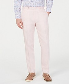 Men's Slim-Fit Linen Pink Suit Pants, Created for Macy's