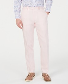 Bar III Men's Slim-Fit Linen Pink Suit Pants, Created for Macy's