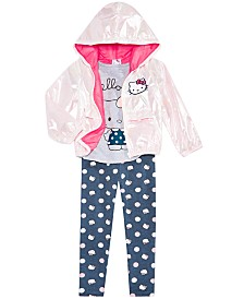 Hello Kitty Toddler & Little Girls Hooded Jacket, Graphic-Print T-shirt & Printed Leggings