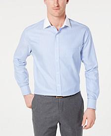 Men's Slim-Fit Non-Iron Supima Cotton Twill Bar Stripe French Cuff Dress Shirt, Created for Macy's