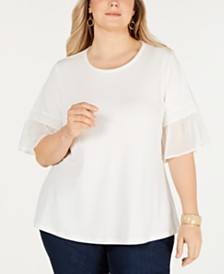 Charter Club Plus Size Ruffle-Sleeve Top, Created for Macy's