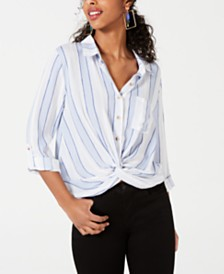 Self Esteem Juniors' Twist-Front Draped Shirt