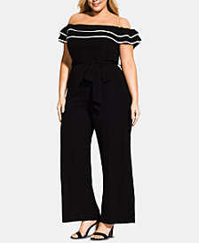City Chic Trendy Plus Size Demure Ruffled Off-The-Shoulder Jumpsuit