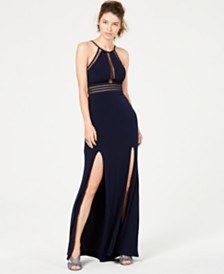 City Studios Juniors' Halter-Neck Gown