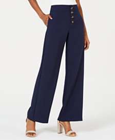 Lucy Paris Diane Button-Front Wide-Leg Pants