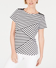 Karen Scott Striped Pieced Top, Created for Macy's