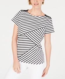 Karen Scott Striped Pieced Top, Created for Macy's