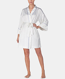 Lauren Ralph Lauren Contrast-Trimmed Printed Satin Wrap Robe