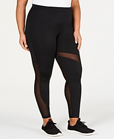 Plus Size Mesh-Inset Leggings