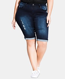City Chic Trendy Plus Size Cuffed Jean Shorts