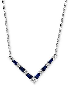 """EFFY® Sapphire (3/8 ct. t.w.) and Diamond Accent 18"""" Necklace in 14K White Gold"""