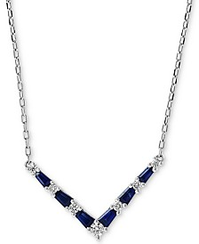 "EFFY Sapphire (3/8 ct. t.w.) and Diamond Accent 18"" Necklace in 14K White Gold"