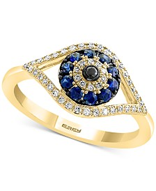 EFFY® Sapphire (1/4 ct. t.w.) & Diamond (1/6 ct. t.w.) Evil Eye Ring in 14k Gold