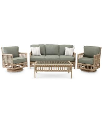 Lavena Outdoor 4-Pc. Seating Set (1 Sofa, 2 Swivel Chairs & 1 Coffee Table) with Sunbrella® Cushions, Created for Macy's