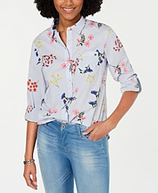 Cornell Roll-Tab-Sleeve Mixed-Print Shirt, Created for Macy's