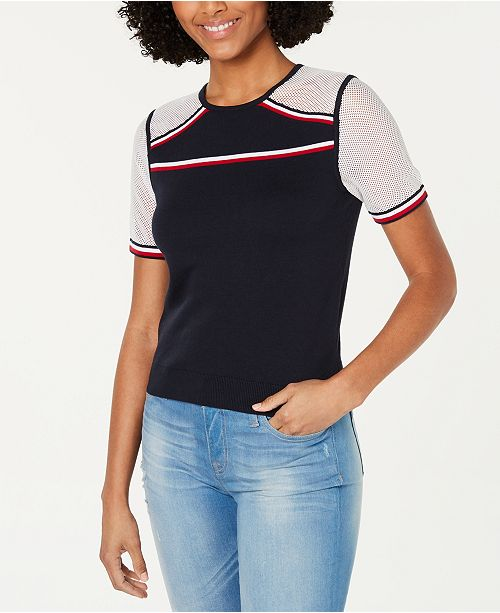 Tommy Hilfiger Cotton Striped-Trim Mesh-Panel Top, Created for Macy's