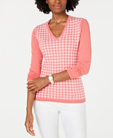 Tommy Hilfiger Cotton Gingham-Front Sweater, Created for Macy's
