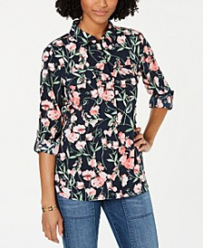 Floral-Print Roll-Tab Blouse