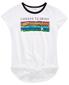Beautees Big Girls Reversible Sequin Tie-Front T-Shirt