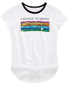Beautees Big Girls Flip Sequin Tie-Front T-Shirt