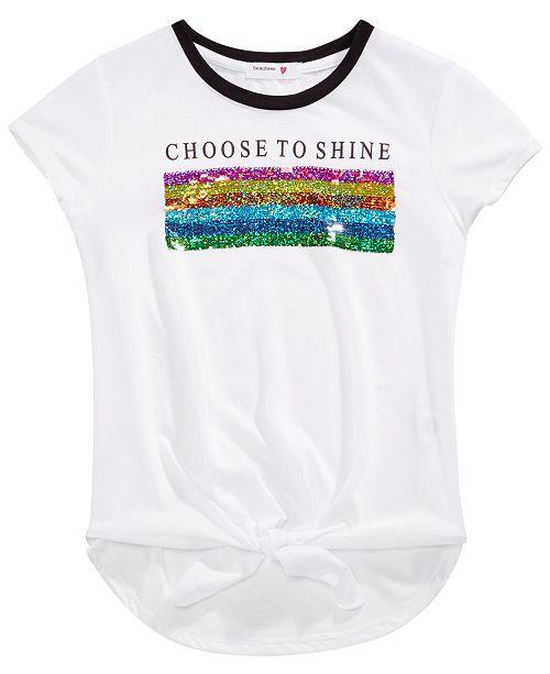 Beautees Big Girls Reversible Sequin Tie-Front T-Shirt