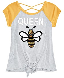 Beautees Big Girls Reversible Sequin Queen Bee Raglan T-Shirt