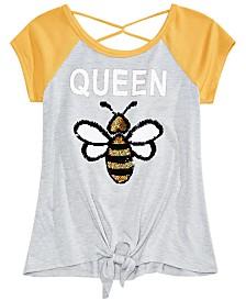 Beautees Big Girls Reversible Sequin Queen Bee Raglan T-Shirt