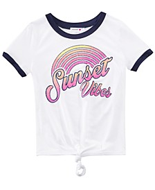 Big Girls Tie-Front Graphic-Print T-Shirt