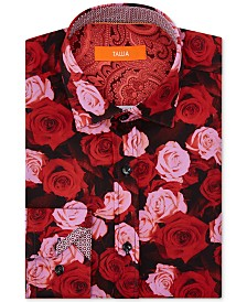 Tallia Men's Slim-Fit Non-Iron Performance Stretch Rose Floral Dress Shirt