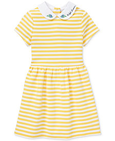 Polo Ralph Lauren Little Girls Ponté-Knit Striped Fit & Flare Dress