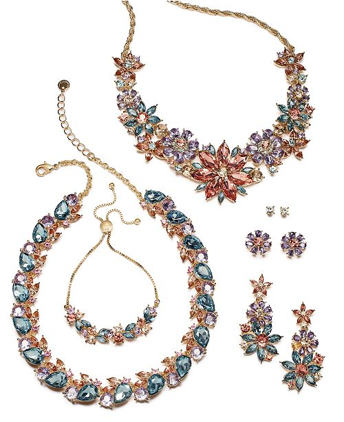 Charter Club Gold-Tone Multi-Crystal Flower Jewelry Separates, Created for Macy's