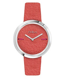 Furla Women's My Piper Orange Dial Calfskin Leather Watch