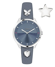 Women's Pin Blue Dial Calfskin Leather Watch