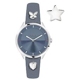 Furla Women's Pin Blue Dial Calfskin Leather Watch