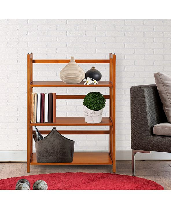 "Yu Shan 3 - Shelf Folding Stackable Bookcase 27.5"" Wide"