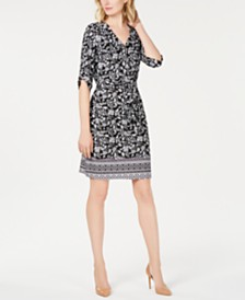 NY Collection Petite Printed Tie-Waist Dress