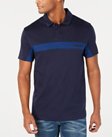 DKNY Men's Stripe Logo Polo Shirt