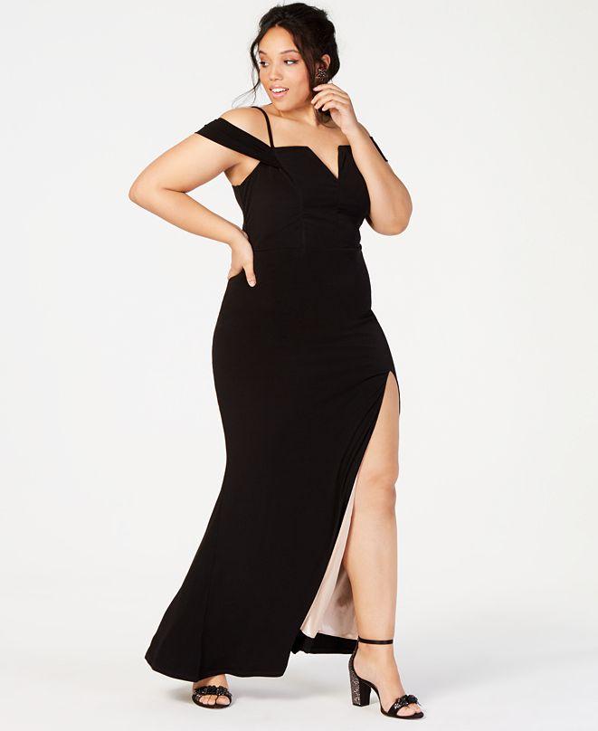 City Studios Trendy Plus Size Off-The-Shoulder Slit Gown